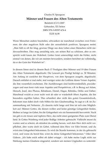 Charles H. Spurgeon, Personen des Alten Testaments - Jochen Klein