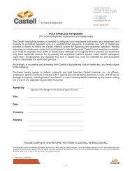 - HOLD HARMLESS AGREEMENT - (For ordering ... - Castell