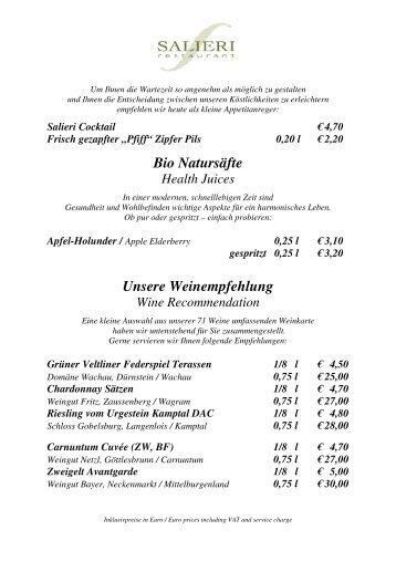 Bio Natursäfte Unsere Weinempfehlung