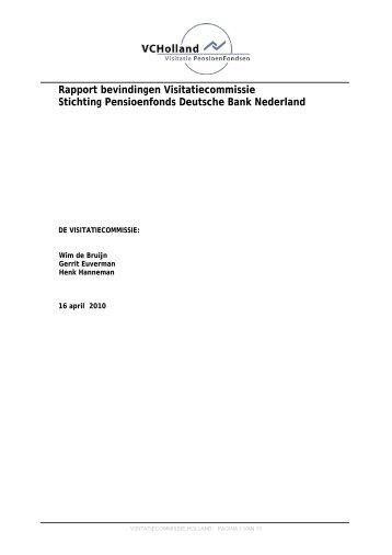 Rapport visitatie Pensioenfonds Deutsche Bank 2009