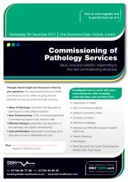 Commissioning of Pathology Services