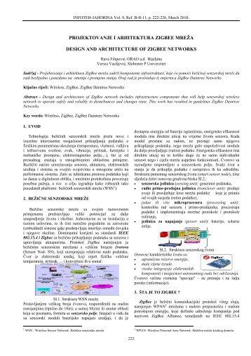 projektovanje i arhitektura zigbee mreža design and ... - Infoteh