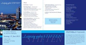 """""""Leipzig geht STIFTEN"""" - Kulturstiftung des Freistaates Sachsen"""