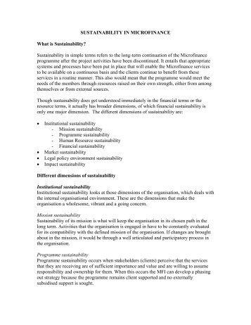 SUSTAINABILITY IN MICROFINANCE - Sa-Dhan