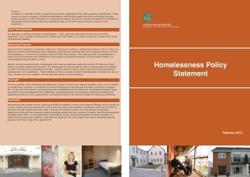Homelessness Policy Statement - Department of Environment and ...