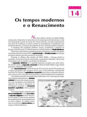 14. Os tempos modernos e o Renascimento - Passei.com.br