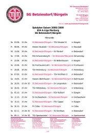 Spielplan SG Betziesdorf-Bürgeln Saison 2008-2009 - FV-Buergeln