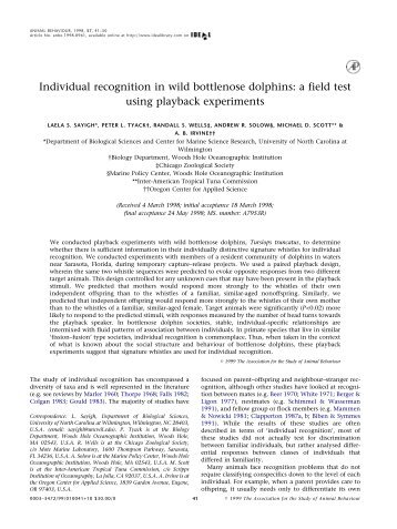 Individual recognition in wild bottlenose dolphins - College of ...