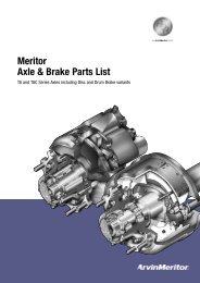 Meritor Axle & Brake Parts List