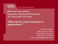 What role for social enterprise in regeneration? - ESRC