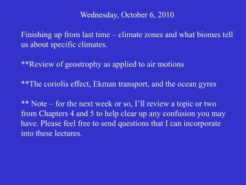 Wednesday, October 6, 2010 Finishing up from last time – climate ...