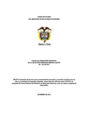 Pliego Definitivo - Ministerio de Relaciones Exteriores