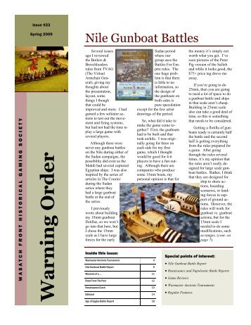 Nile Gunboat Battles - Wasatch Front Historical Gaming Society
