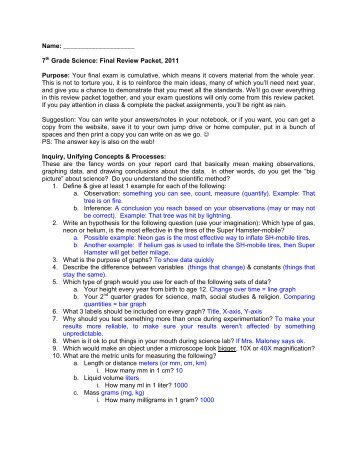 Nature Of Science Review Packet Th Grade