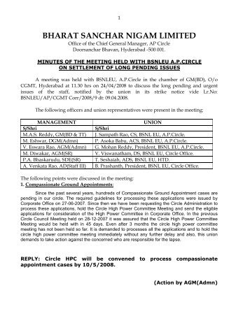 bharat sanchar nigam limited - BSNL Employees Union Andhra ...