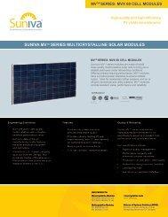 SUNIVA MVTM SERIES MULTICRYSTALLINE SOLAR MODULES
