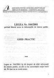LEGEA Nr. 544/2001 privind liberul acces la informatiile de interes ...