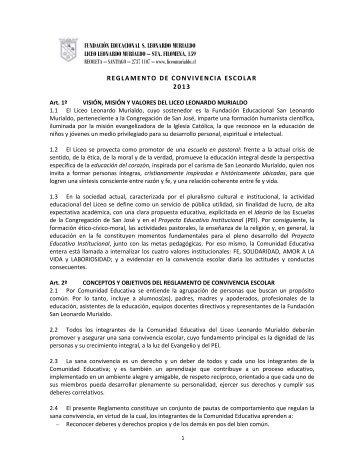 sta. filomena, 159 reglamento de convivencia escolar 201