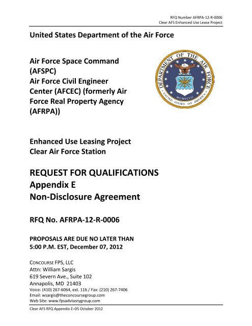 Appendix E Non Disclosure Agreement Concourse Fps
