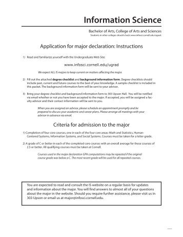 CALS Major Declaration Forms - Cornell Information Science