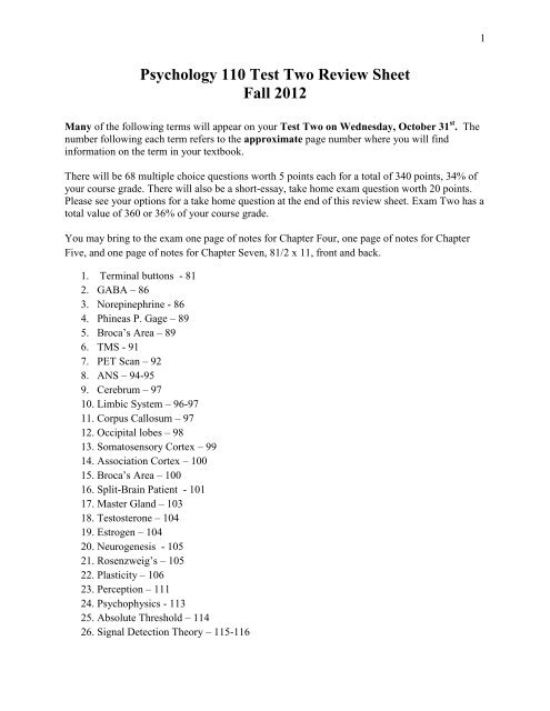 Psychology 110 Test Two Review Sheet Fall 2012