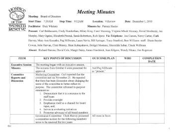 Meeting Minutes weSlern Reserve - Hospice of the Western Reserve