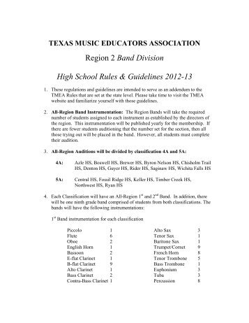 Region 2 Band Division High School Rules & Guidelines 2012-13