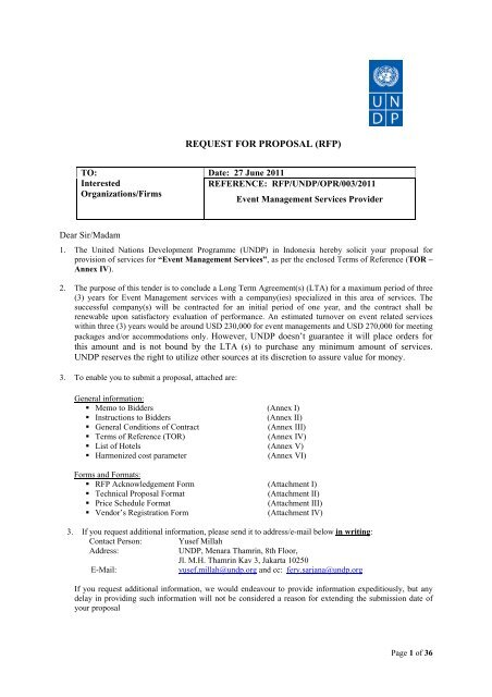 REQUEST FOR PROPOSAL (RFP) - UNDP