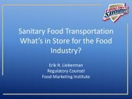 Sanitary Food Transportation What's in Store for the Food Industry?