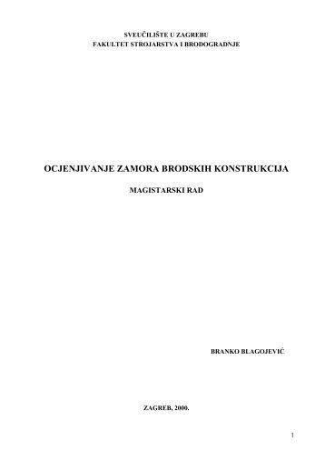 OCJENJIVANJE ZAMORA BRODSKIH KONSTRUKCIJA - FESB