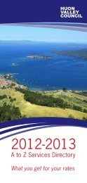 A to Z Services Directory - Huon Valley Council