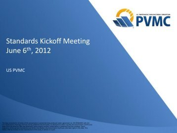Standards Kick-off Meeting Presentation - PVMC