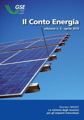 Il Conto Energia - Sportello Fonti rinnovabili