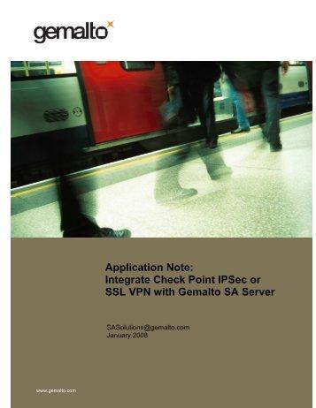 Integrate Check Point IPSec or SSL VPN with Gemalto SA Server