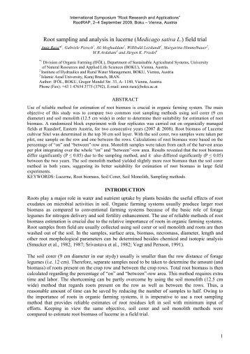 Root sampling and analysis in lucerne (Medicago sativa L ... - Boku