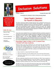 October November 2005 Inclusion Solutions - Down Syndrome ...