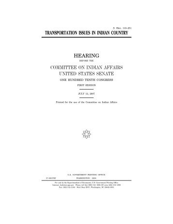 Transportation Issues in Indian Country - US Senate Committee on ...