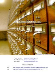 Kirjastojärjestelmät nyt! - ad hoc raportti 2009 - Kirjastot.fi