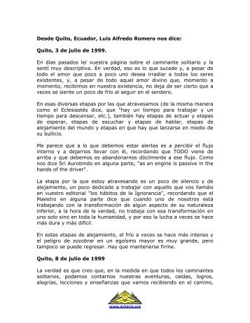 Desde Quito, Ecuador, Luis Alfredo Romero nos dice: - Acharia