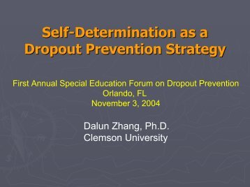 Self-Determination as a Dropout Prevention Strategy - National ...