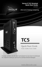 Devon IT TC5 Terminal Quick Start Guide version1
