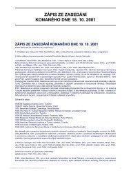 ZÁPIS ZE ZASEDÁNÍ KONANÉHO DNE 18. 10. 2001