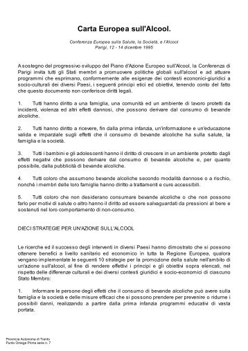 Carta Europea sull'Alcool. - Trentino Salute
