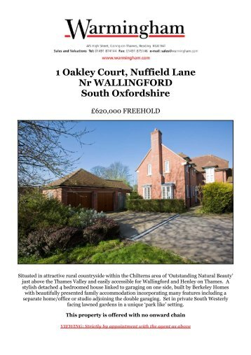 1 Oakley Court, Nuffield Lane Nr WALLINGFORD ... - Warmingham