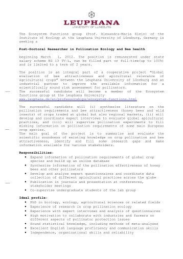 Postdoctoral Researcher in Pollination Ecology - scales
