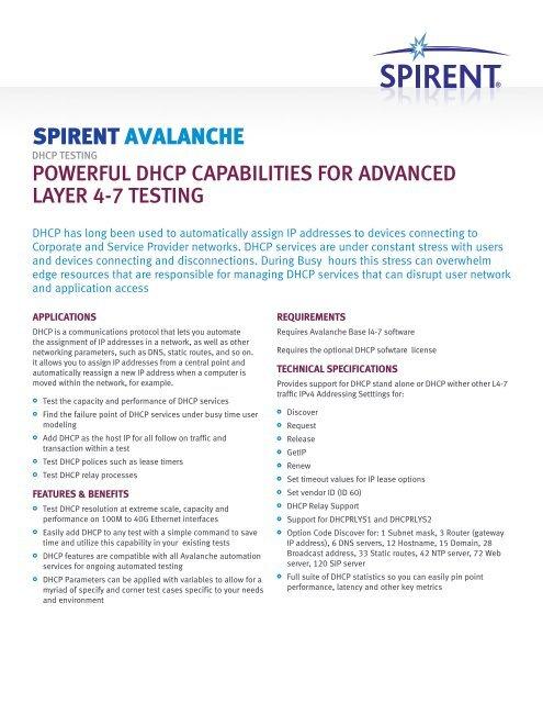Avalanche DHCP Testing DatasheetAdvanced DHCP     - Spirent