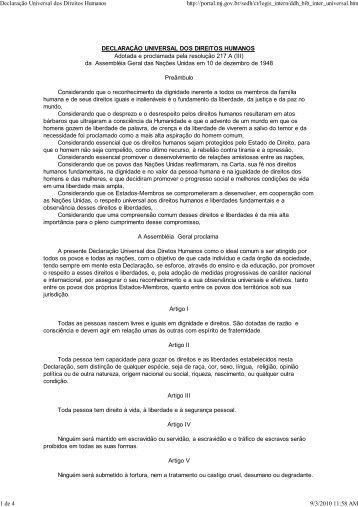 Declaração Universal dos Di... - Instituto de Biologia da UFRJ