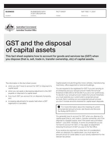 GST and the Disposal of Capital Assets N7682
