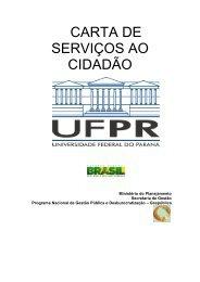 VERSÃO PRELIMINAR DA CARTA DE SERVIÇOS AO CIDADÃO - UFPR