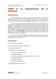 TEMA 5: La Organización de la Empresa - Ecobachillerato